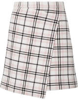 Carven Asymmetric Plaid Wool-blend Mini Skirt - Cream