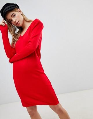 Asos Design Dress With V Neck And Shoulder Pad-Red