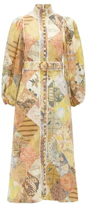 Zimmermann Brightside Patchwork-print Linen Midi Dress - Womens - Yellow Multi