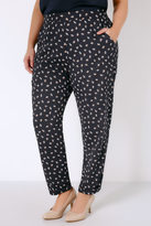Yours Clothing Navy & Multi Floral Print Crepe Relaxed Fit Harem Trousers