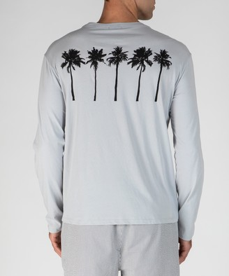 Atm Classic Jersey Palm Print Long Sleeve Tee - Grey Fog