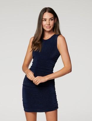 Forever New Beatrix Ruched Glitter Mini Dress - Navy - 10