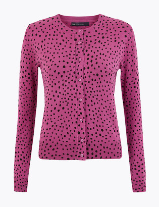Marks and Spencer Polka Dot Crew Neck Cardigan