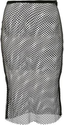 Ann Demeulemeester Cashmere Sheer Mesh Midi Skirt