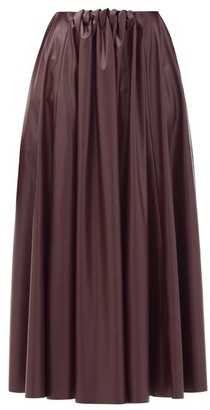 Roksanda Ada Gathered-waist Faux-leather Midi Skirt - Burgundy