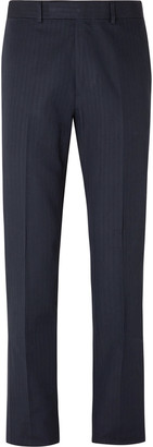 Kingsman Slim-Fit Herringbone Cotton And Linen-Blend Trousers