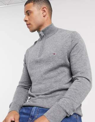 Tommy Hilfiger lambswool half zip jumper in grey