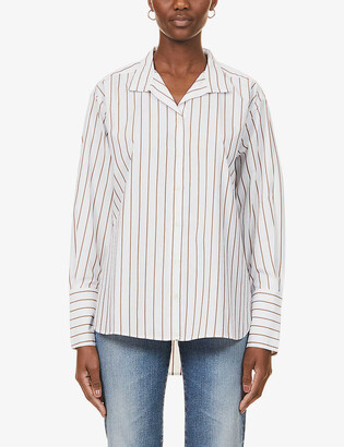 Frame Striped relaxed-fit cotton-blend shirt