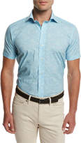 Peter Millar Day Glow Short-Sleeve Sport Shirt, Turquoise