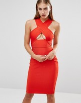 Missguided Premium Bandage Cross Strap Cut Out Midi Dress