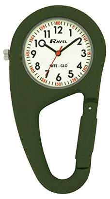 Ravel Glow in The Dark Belt Clip Watchfully Secure to Fit on Your Belt or Backpack Unisex Quartz Watch with White Dial Analogue Display and Green Stainless Steel Bangle R110511NG