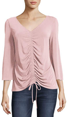 5twelve V-Neck Ruched Tie-Hem Blouse