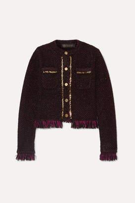 Versace Embellished Frayed Metallic Boucle Blazer - Black