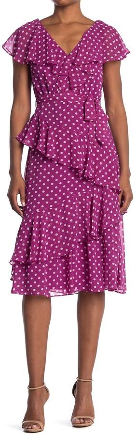 Gabby Skye Polka Dot Flutter Sleeve Ruffled Midi Dress