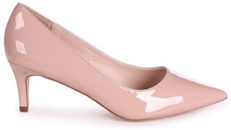 Linzi LUCINDA - Nude Patent Classic Court Shoe With Low Heel