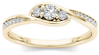MODERN BRIDE 1/5 CT. T.W. Diamond 10K Yellow Gold 3-Stone Engagement Ring