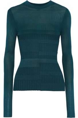 Narciso Rodriguez Paneled Ribbed-knit Top