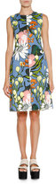 Marni Sleeveless Floral A-Line Dress, Iris Blue