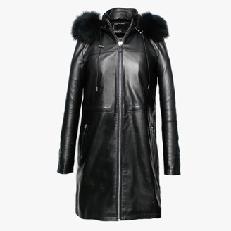 Oakwood Lucciana Black Leather Longline Hooded Coat