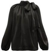 Zimmermann Super Eight Pussy-bow Silk-charmeuse Blouse - Womens - Black