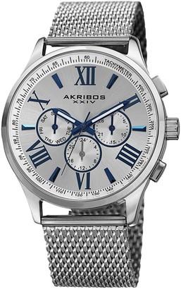 Akribos XXIV Men's Swiss Quartz Multifunction Dual Time Stainless Steel Silver-Tone Bracelet Watch - silver