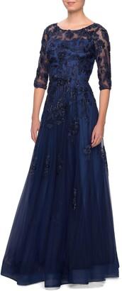 La Femme Embellished Lace A-Line Gown