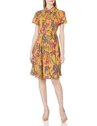 Nanette Lepore Nanette Women's Printed Flutter Sleeve Pintuck Shirtdress W/Self Sash Belt