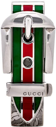 Gucci Enamel Buckle Money Clip in Sterling Silver, Green & Red | FWRD