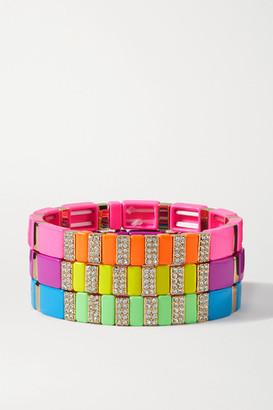 Roxanne Assoulin High Lite Set Of Three Enamel, Gold-tone And Crystal Bracelets