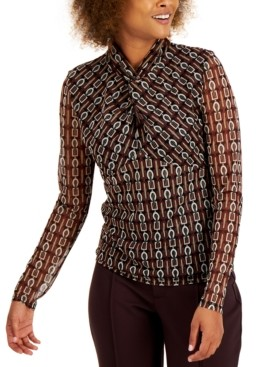 INC International Concepts Inc Printed Twist-Neck Top, Created for Macy's