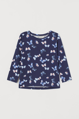 H&M Printed Jersey Top - Blue