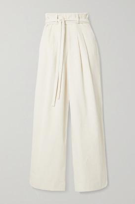 KING & TUCKFIELD Belted Cotton-corduroy Wide-leg Pants - Ecru