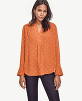 Ann Taylor Petite Dotted V-Neck Blouse