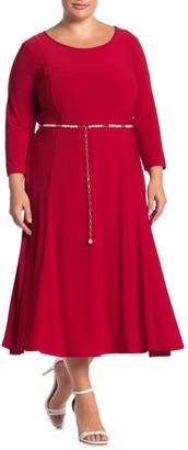 Nina Leonard 3/4 Sleeve Pearl Waist Dress (Plus Size)