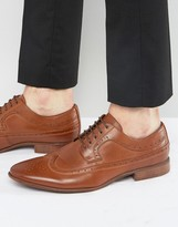 Asos Brogue Shoes In Brown Faux Leather