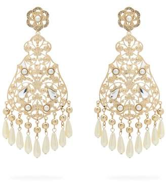 Etro Faux Pearl And Crystal Chandelier Earrings - Womens - Pearl
