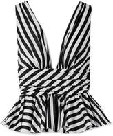 Caroline Constas Striped Cotton-poplin Peplum Top - Black