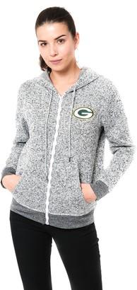 Ultra Game Women's NFL Full Zip Fleece Hoodie Letterman Varsity Sweatshirt Marl Knit Jacket