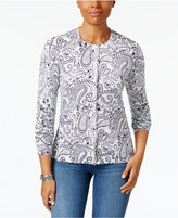 Karen Scott Petite Paisley-Print Cardigan, Only at Macy's