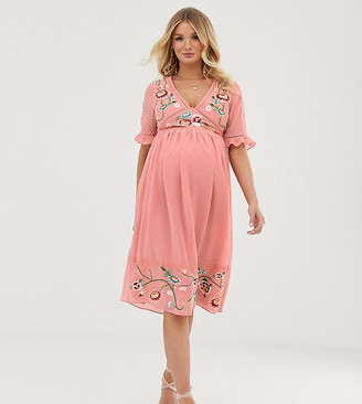 Asos DESIGN Maternity embroidered midi dress with lace trims