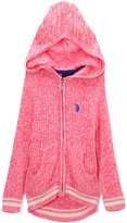 U.S. Polo Assn. Neon Hot Pink Sport Rib Hooded Sweater - Girls