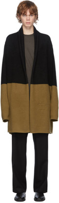 Frenckenberger Black and Tan Cashmere Big Neck Straight Cardigan