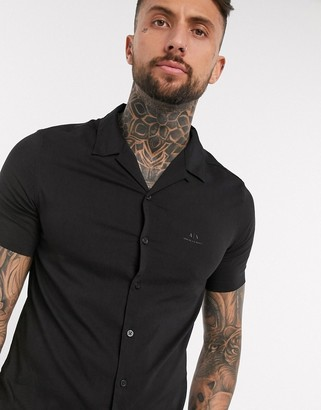 Armani Exchange revere collar shirt with chest logo in black