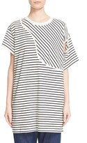 MM6 MAISON MARGIELA Women's Asymmetrical Stripe Jersey Tee