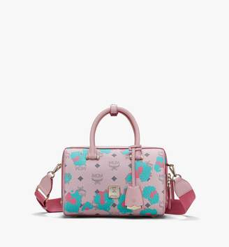 MCM Essential Boston Bag In Floral Leopard
