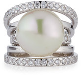 Majorica Pavé Split-Shank Simulated Pearl Ring, Size 7
