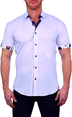 Maceoo Galileo Square Short Sleeve Button-Up Shirt