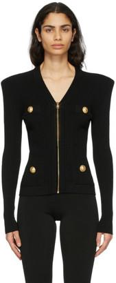 Balmain Black Zipped Cardigan