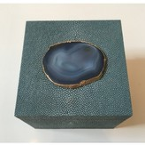 The Well Appointed House Square Shagreen Decorative Box with Teal Agate - IN STOCK IN OUR GREENWICH STORE FOR QUICK SHIPPING