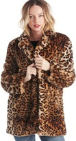 Sole Society Leopard Print Faux Fur Coat